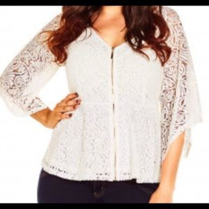 City chic XXL white lace zipper top